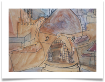 "Beach Cafe with Dome Hammamet :: Watercolour/Ink on Paper :: 22"" x 22"" :: £ 340"