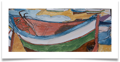 "Boat, Hammamet :: Watercolour on  Paper (Mounted) :: 20"" x 8"" :: £ 140"