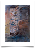 "Luminescent Tower :: Watercolour on Paper (Mounted) :; 28"" x24"" :: £ 340"