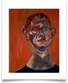 "Man in Orange Head :: 16"" x 14"" (Framed) :: Oil on Board :: £ 690"
