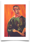 "Man in Orange :: Oil on Board :: 28"" x 24"" :: £ 865"