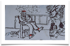 "Man in Park with Red Socks and a Beret :: Ink & Pastel on Paper (Mounted) :: 14"" x 20"" :: £ 340"
