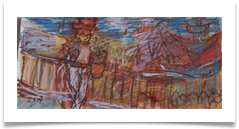 "Man on Balcony, Competa :: Ink & Pastel on Paper (Mounted) :: 7"" x 20"" :: £ 165"