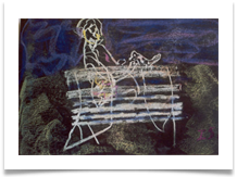 "Man on Bench, Waterlow Park :: Pastel on Paper (Mounted) :: 18"" x 20"" :: £ 340"