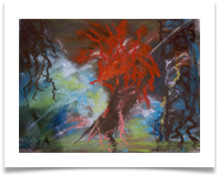 "Red Tree in Mist :: Chalk Pastel/Charcoal on Paper (Framed) :: 22"" x 20"" :: £ 690"