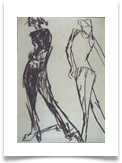"Two Fashion Models :: Charcoal on Paper :: 32"" x 28"" :: £ 340"