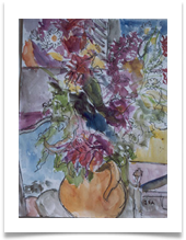 "Watercolour Flower Arrangement :: Watercolour on Paper (Mounted) :: 20"" x 22"" :: SOLD"