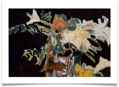 "White Lilies in Black :: Oil on Canvas (Mounted) :: 30"" x 28"" :: £ 1,130"